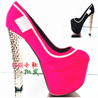 Fashion single shoes black 15cm ultra high heels red bridal shoes platform thick heel velvet wedding shoes female