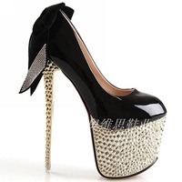 Bow rhinestone 16cm high-heeled shoes rivet japanned leather sexy ultrafine high-heeled shoes 1417cm