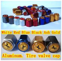 4Pcs/Set Car Tire Valve Cap  High-grade Aluminum  100% Airtight. 6 colors.Free shipping