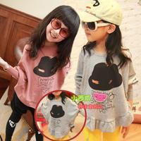 Children's clothing 2014 spring female child wool lycra hat batwing shirt child sweatshirt T-shirt