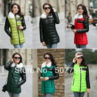 free shipping 2014 winter fashion thermal wadded jacket female medium-long fur collar cotton-padded jacket