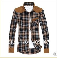 Han edition men casual shirt male long plaid shirt long sleeve cultivate one's morality men's wear
