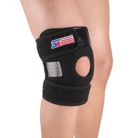 Free Shipping SX625 Sports Leg Knee Patella 2 spring Support Brace Cap Wrap Protector Pad Sleeve Silicone pressure - Black