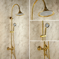 Gold antique shower ming mounted vintage fashion titanium gold shower heads copper set lift