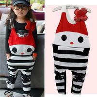 Spring Children's clothing brand big bow sequined striped pants Korean KT cat cartoon rabbit overalls piece pants 2013 girls kid
