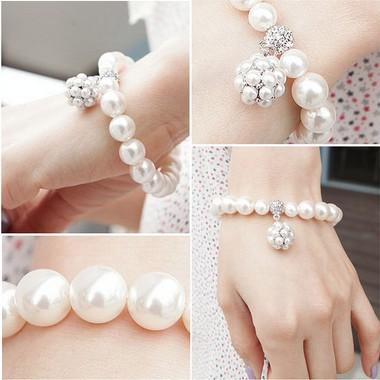 Vintage Ball Imitation Pearl Elasticity Bracelets&Bangles Fashion Pearl Stud Ball Pearl Bracelet 5125(China (Mainland))