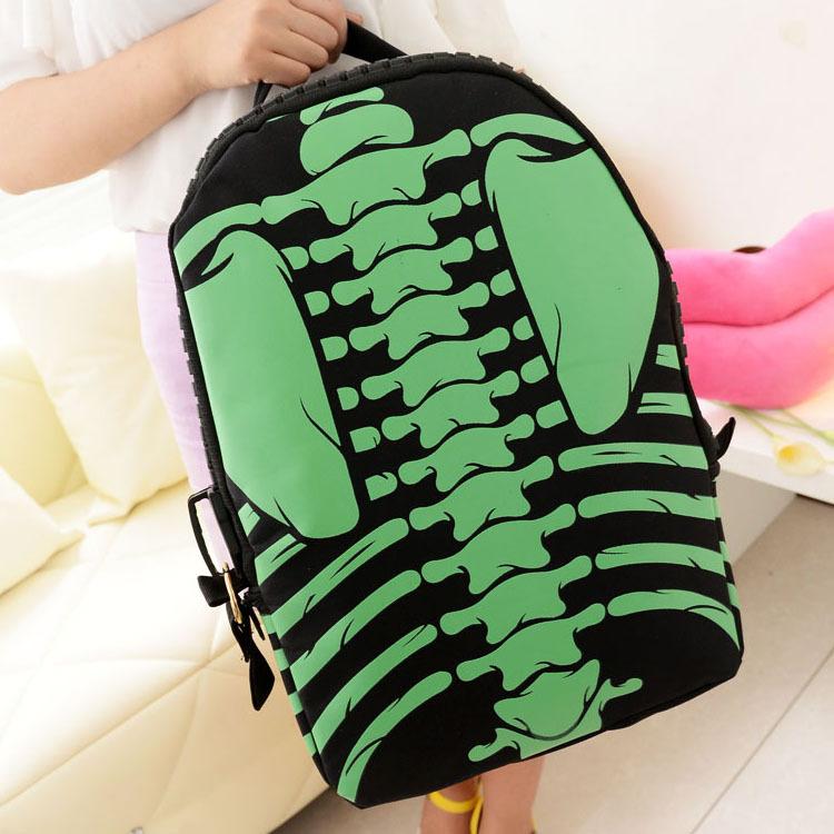 Cool Skeleton Print School Backpack Bag Fashion Zipper Style Bone ...