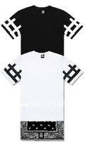 Wholesale Unisex Women Men Bandana Print CEASE DESIST O-Neck Skirt Dress T-Shirts Hip Hop Short Tees Side Zip Black/White S-2XL