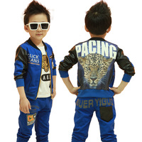 New fashion 2014 spring children's clothing set cute tiger infant child clothing baby boy's coat+t-shirt+pants 3 piece set