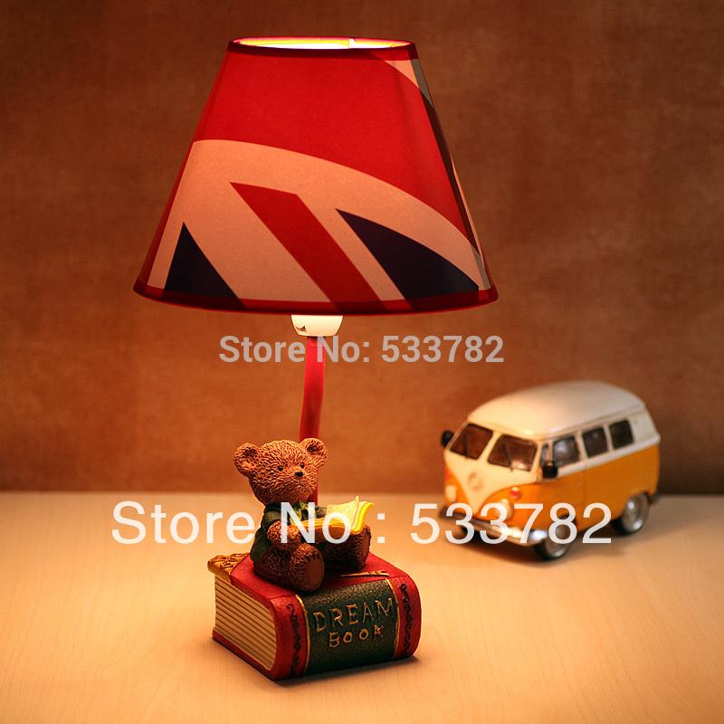 Cottage children cartoon table lamp table light rustic bear(China (Mainland))
