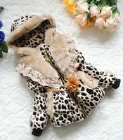 4pieces/lot Winter Autumn Children Girls Flower Belt fur Leopard Jacket, 3-8years, C-MM-301