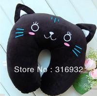 J2  Cute Cartoon black cat Pattern Design Plush Travel car home pillow, U shape Neck pillow / rest pillow Free shipping