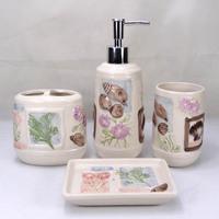 Ceramic Shell bathroom set four piece bathroom supplies Free Shipping