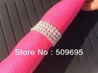 luxury wedding table decoration 4 rows A grade crystal diamond rhinestone silver napkin ring LE004RR