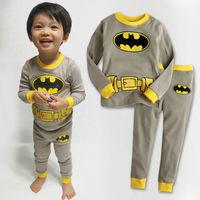 Retail 2T,3T,4T,5,6,7 years kids high quality 100% cotton cartoon pajamas baby pijamas batman