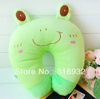 J2  Cute Cartoon green frog plush Pattern Design Plush Travel car pillow, U shape Neck pillow / rest pillow