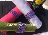 Light Purple Color wedding table decoration 4 rows  rhinestone diamond napkin ring, crystal rhinestone napkin ring LE004LP