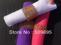 Rose Gold Color wedding table decoration 8 rows  rhinestone diamond napkin ring, crystal rhinestone napkin ring LE008RG
