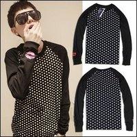 Outerwear autumn and winter hoodies Men sweatshirt polka dot long-sleeve slim outerwear men t shirt, freeshipping