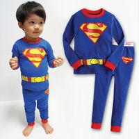 Retail 2T,3T,4T,5,6,7 years kids high quality 100% cotton cartoon pajamas baby costume sleepwear baby superman