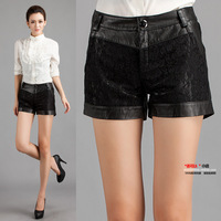 Free shipping 2014 gauze lace paragraph genuine leather shorts female genuine leather sheepskin leather pants boot cut jeans