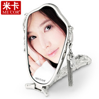 Free shipping Mica handle mirror princess makeup desktop mirror vanity mirror portable folding mirror gift