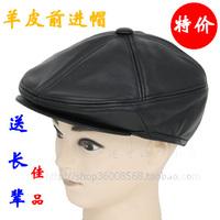 Men's genuine leather sheepskin hat cap ear thermal old man hat genuine leather hat