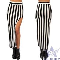2014 Brand New Arrival Striped Fashion Womens Long Skirts Black White Irregular Stripes Maxi Skirt Free Size Longas Saias 20139