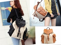 Korea Womens Lady Student Canvas Backpack Shoulder Bag Messenger Bag (2 Colors) Factory Wholesale BB-0038