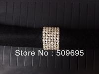 luxury wedding table decoration 6 rows A grade crystal diamond & pearl rhinestone silver napkin ring LE006ZZ
