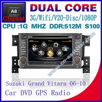 Car DVD for Suzuki Grand vitara S100 gps navigation radio bluetooth car kit TV USB Wifi 3G 1G CPU Video audio Free shiping 1213