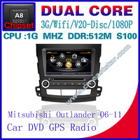 Car DVD for Mitsubishi Outlander S100 gps navigation radio bluetooth car kit TV USB Wifi 3G 1G CPU Video audio Free shiping 1257