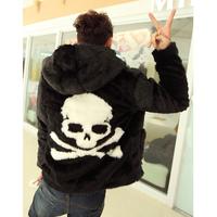 2014 male skull pattern fur coat with a hood imitation mink slim fur outerwear