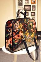 Bags 2014 oil painting bag handbag shoulder bag women's flower shoulder bag, chain tote bag, freeshipping