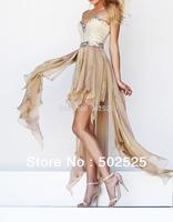 Oscar Gown New Fashion Design Handmake Crystal High Low Chiffon Cocktail Dresses OL102344 Free Shipping