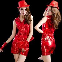 Ds costume fashion female singer jazz dance sexy costumes twirled clothing hip-hop japanned leather set