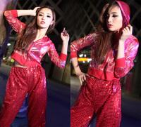 Paillette hiphop jazz top ds costume short jacket hiphop hip-hop outerwear with a hood
