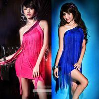 Tassel paillette evening dress costume dress one shoulder dress one-piece dress