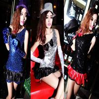 Costumes style female costume strapless paillette short oblique dress dance dress