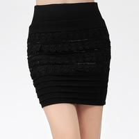 2014 new fashion elastic waist elastic big yards package hip skirt lace short skirts black a-line skirt women free shipping