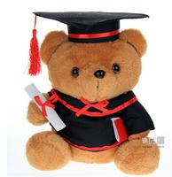 Dr. graduation Bear Teddy bear Plush Doll Boy Girl Toy Student Graduation gift tall 25 cm Brown Creamy-white