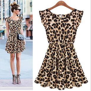 New 2014 women one piece dress leopard print Casual Sundress big size M L XLFree shipping Women's Clothing(China (Mainland))
