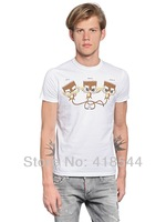 Free Shipping New 2014 DSQ T-shirts for Men printed Three small animals100% cotton short sleeve brand casual men D2 t-shirt