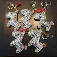 Lucky crystal rhinestone keychain women's package linked to fox fur car keychain