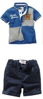 2014 Summer POLO kids boy set clothing casual shirt + Shorts 2 pcs Children's clothes