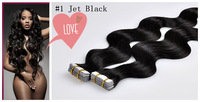 Wholesale Price #1 Jet Black Brazilian Virgin Hair Body wave Tape Hair Extensions 40 Pieces 100g 24 inch 26 inch Can Be Dyed