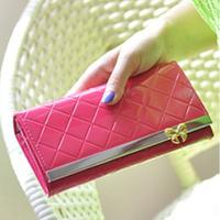 2014 New Arrival Wholesale High quality PU Women Bowknot Hasp Long Wallets Fashion Diamond 9 colors purse