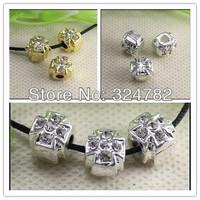 100PCS/LOT Silver Gold Tone Crystal Rhinestones metal Hole Cross Charm beads Fit European Bracelets Jewelry Findings
