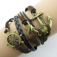 B106 fashion Anchor Rudder 8 in Bronze Wax Cords Imitation Leather Bracelet B5