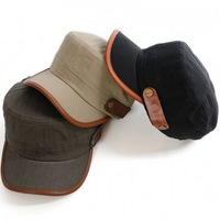 Korean high-grade leather standard rivet cap outdoor leisure men's flat cap Free Shipping